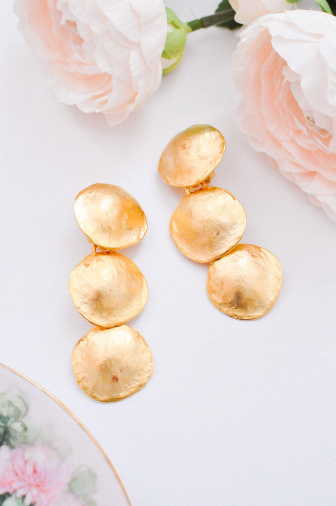 Multi Coin Drop Clip on Earrings