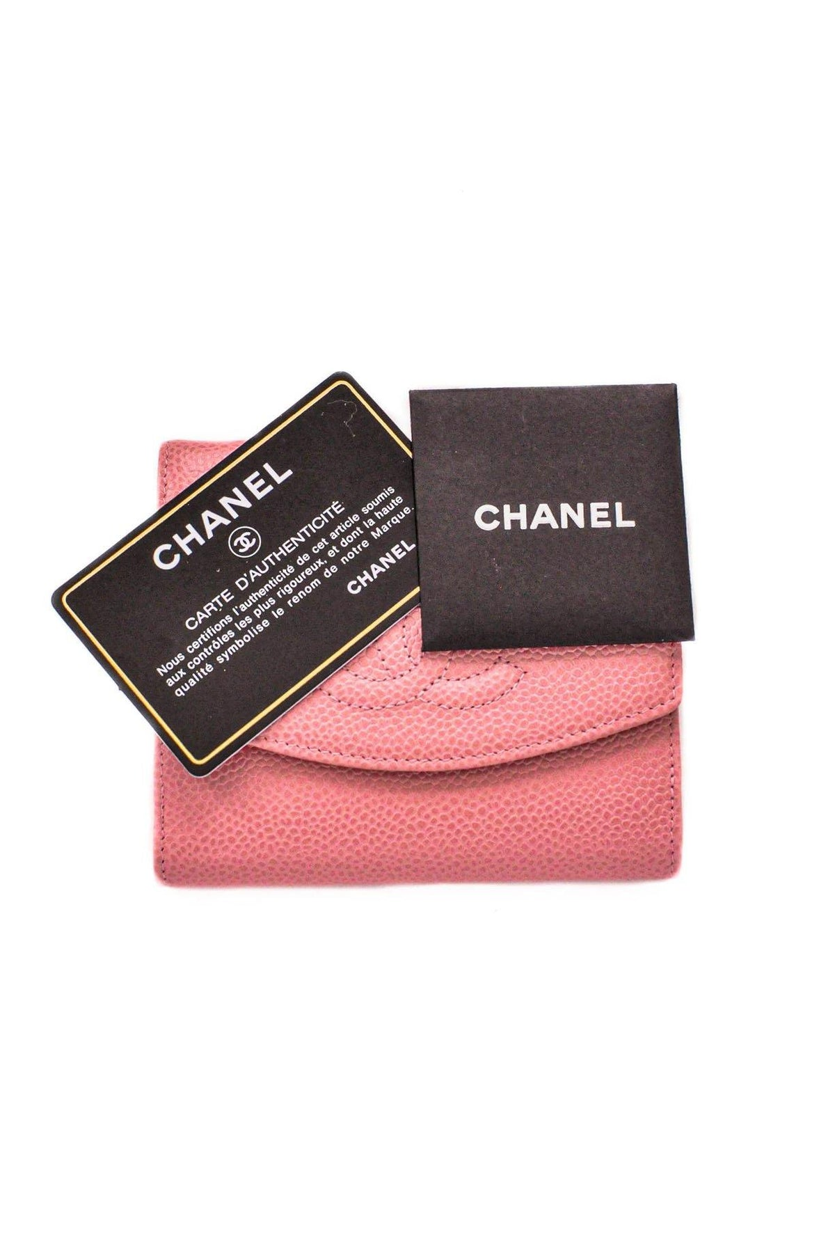 Vintage Chanel CC Pink Caviar Leather Bi-Fold Wallet from Sweet and SPark