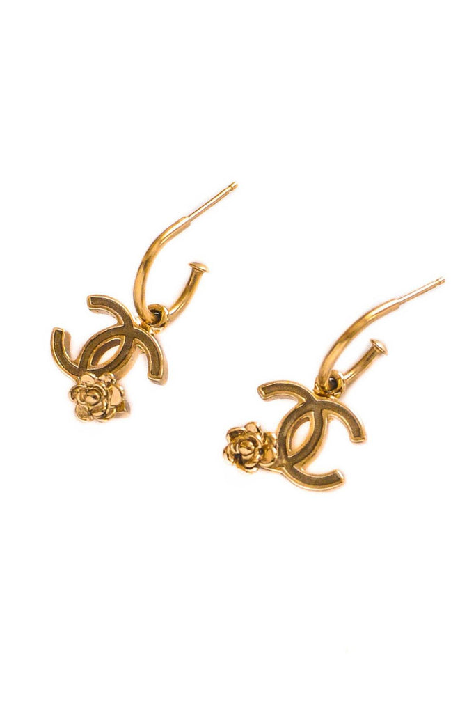 Chanel CC Dainty Drop Hoop Pierced Earrings