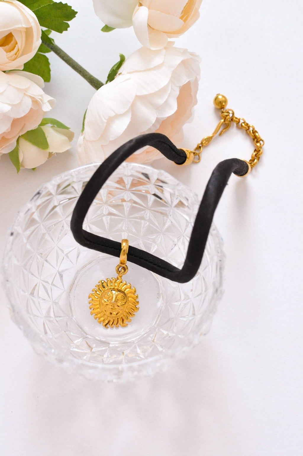 Gold and Black Sun Cord Necklace