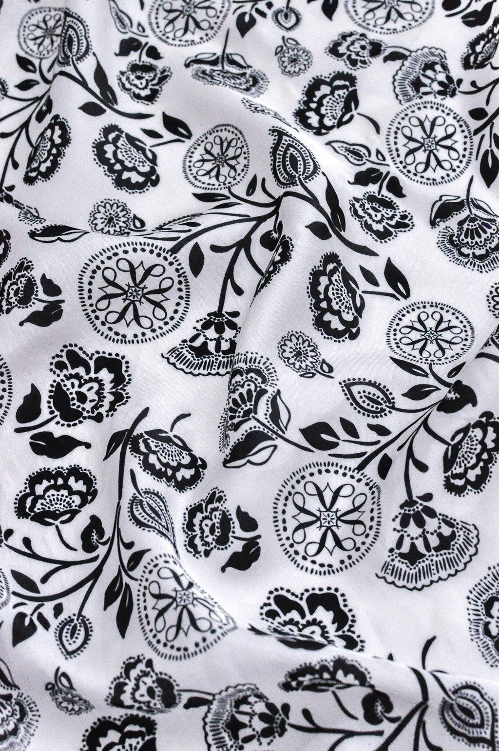 Black and White Floral Square Scarf