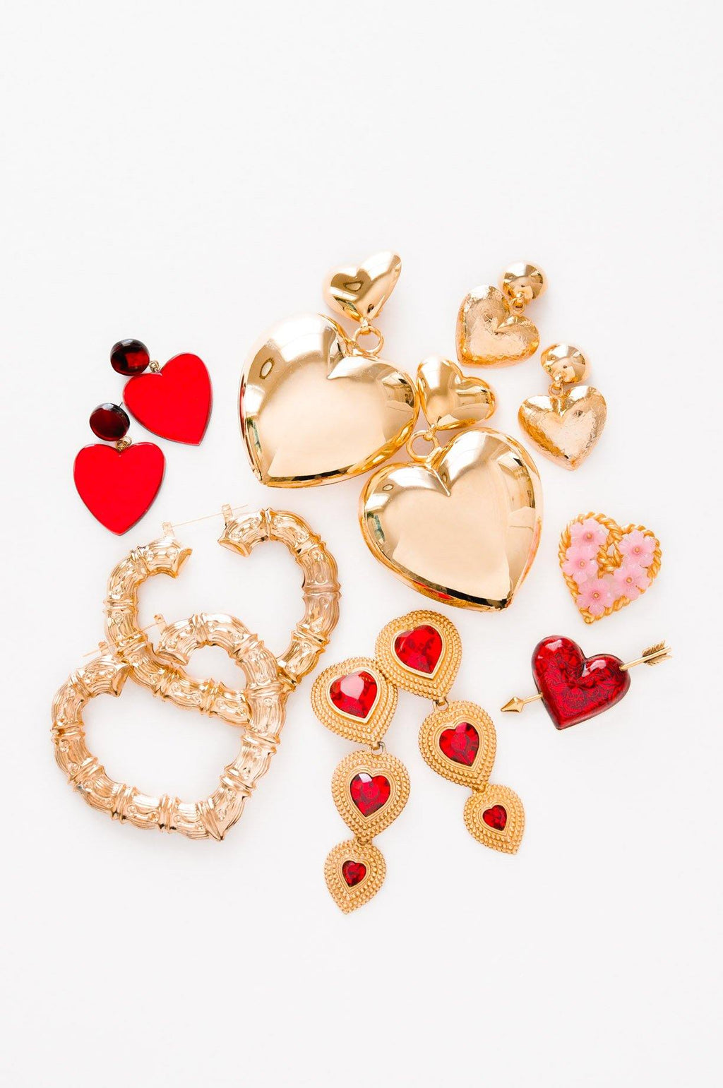 Statement Heart Drop Clip-On Earrings
