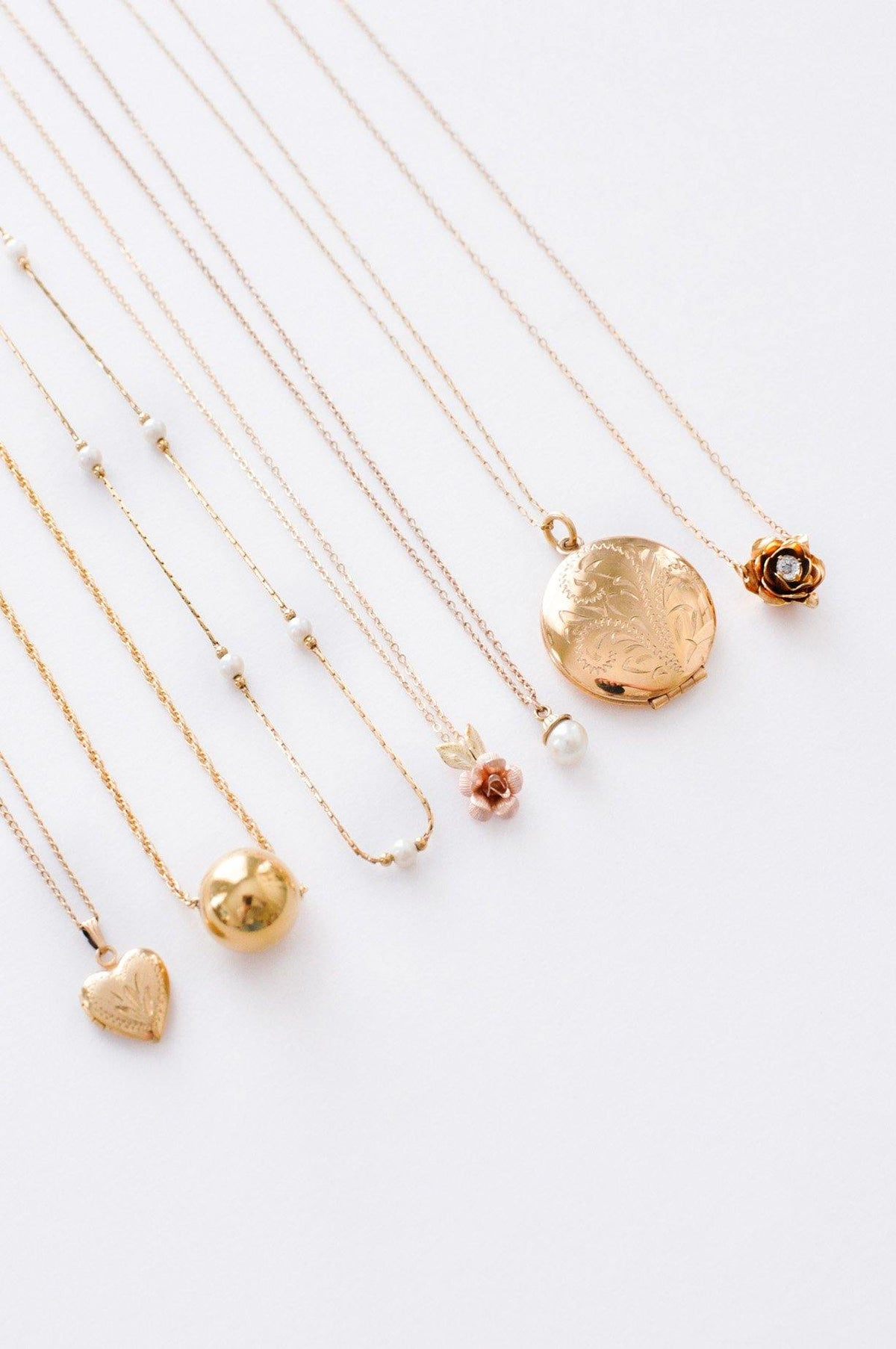 Dainty vintage necklaces from Sweet & Spark.