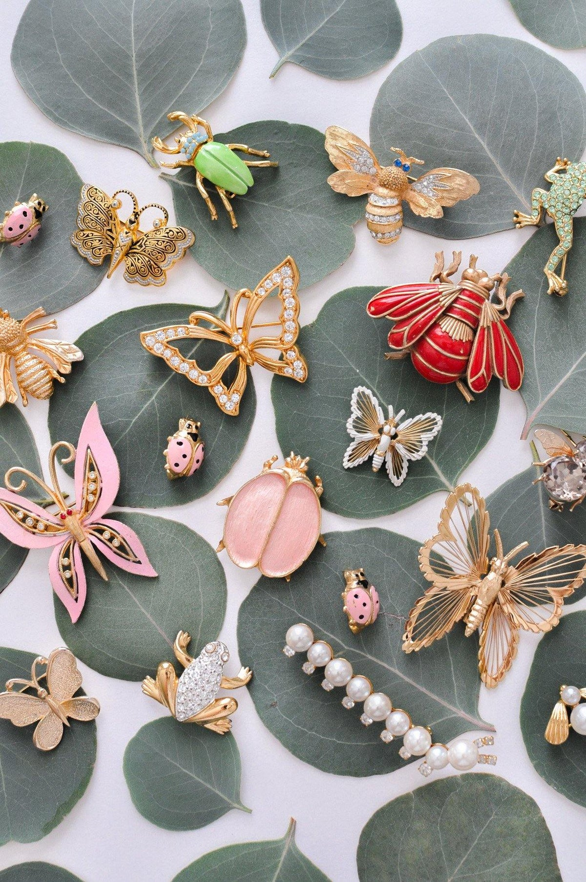 Vintage insect brooches from Sweet & Spark.