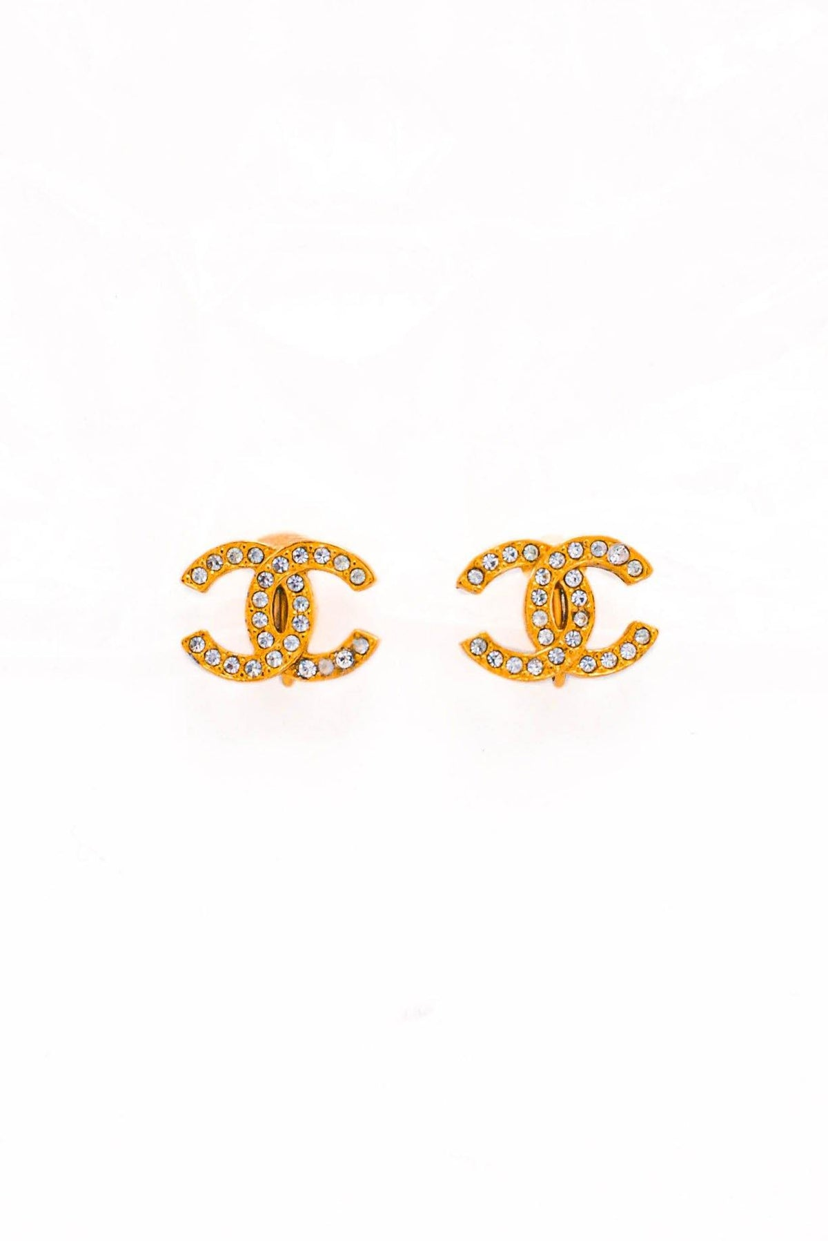 Vintage Chanel CC Rhinestone Clip-on Earrings from Sweet and Spark
