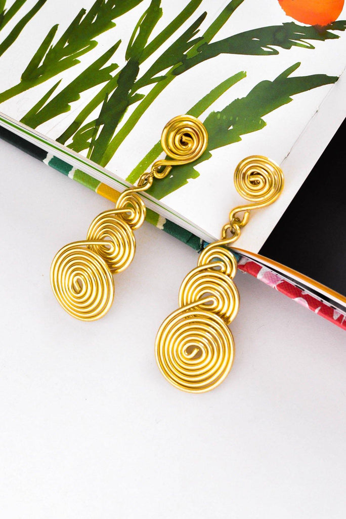 Swirl Drop Pierced Earrings