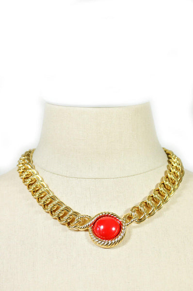 80's__Trifari__Red Bauble Necklace