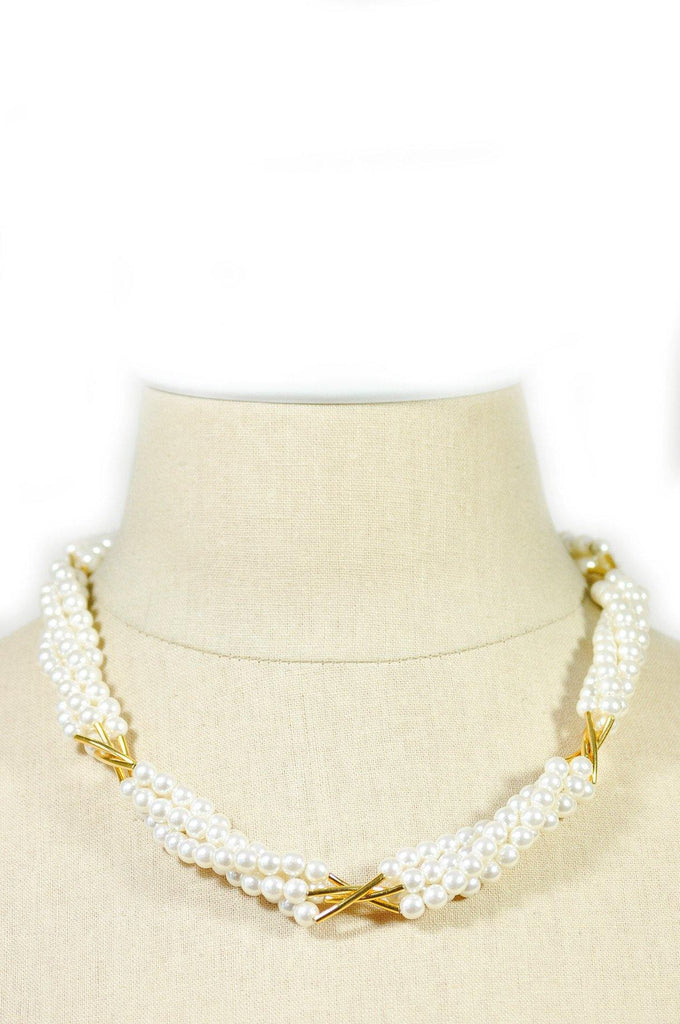 80's__Vintage__Multi-Strand Pearl Necklace