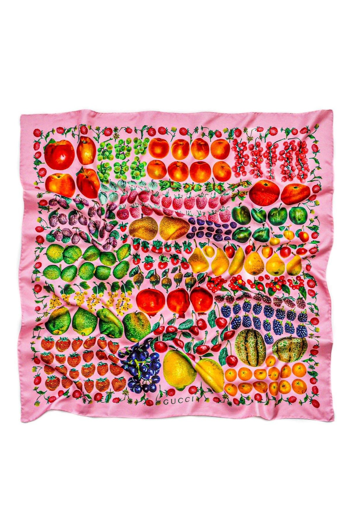Vintage Gucci Pink Fruit Scarf from Sweet and Spark