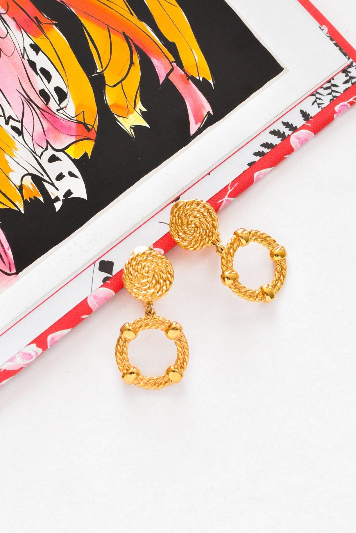 Vintage Rope Drop Hoop Clip-on Earrings from Sweet and Spark