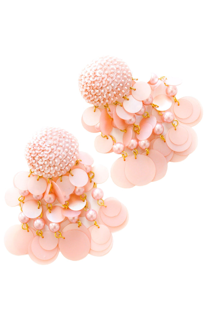 Blush Pink Jumbo Sequin Bon Bon Clip-on Earrings