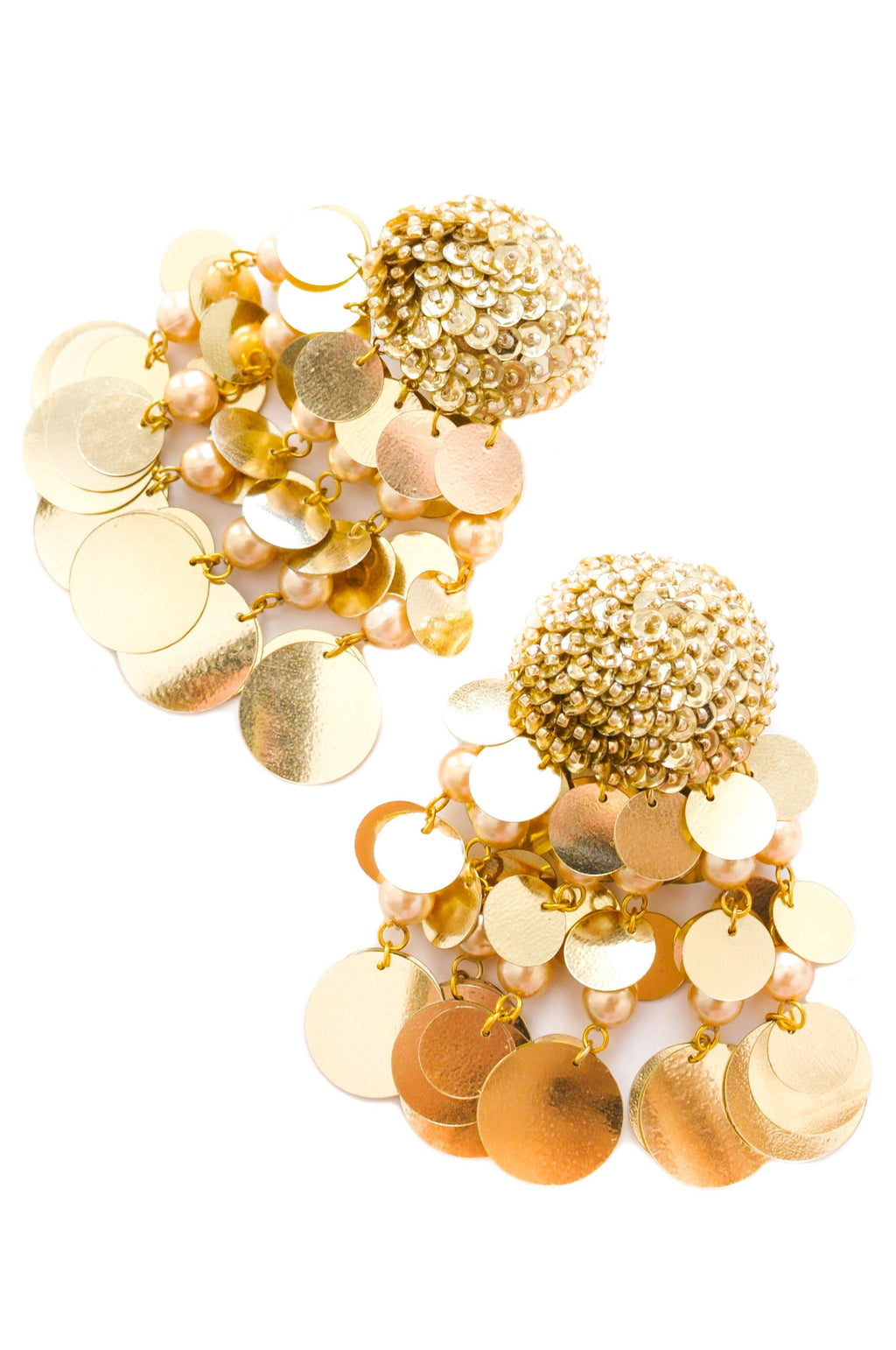 Gold Jumbo Sequin Bon Bon Clip-on Earrings