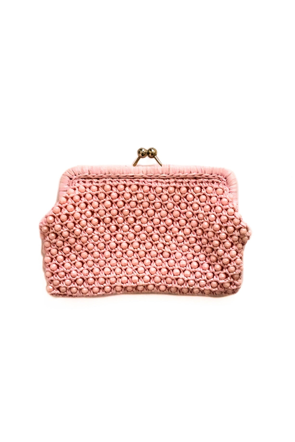 Vintage Pink Raffia Clutch from Sweet & Spark.