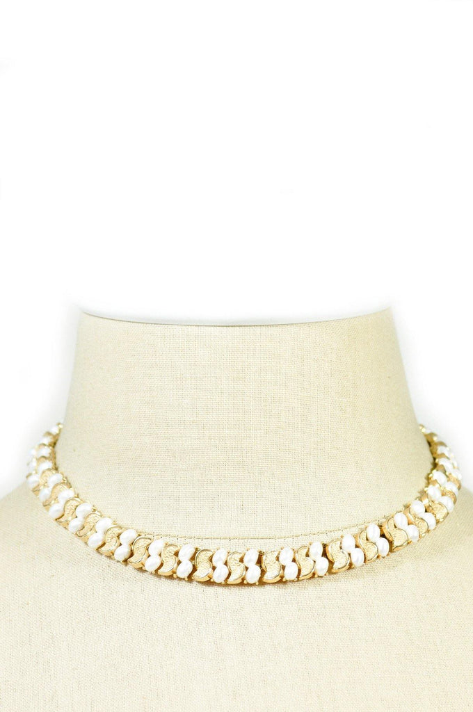 50's__Trifari__Pearl Collar Necklace