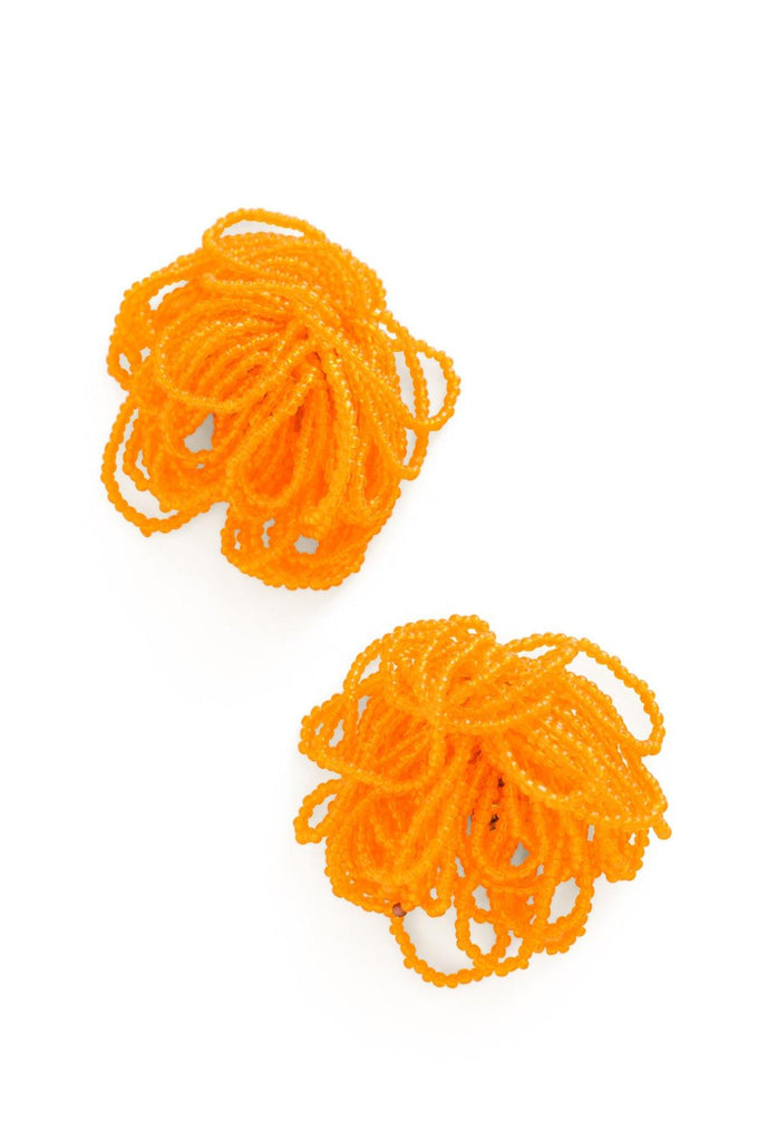 Orange Beaded Tassel Clip-on Earrings