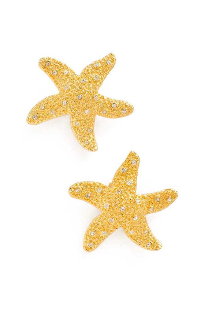 Rhinestone Starfish Clip-on Earrings