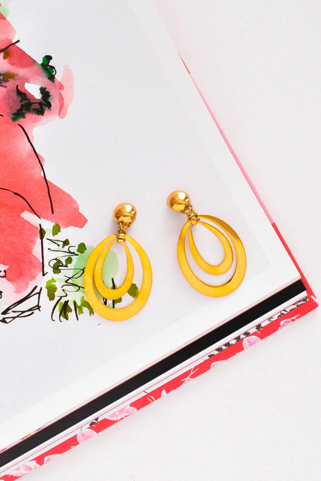 Double Drop Hoop Clip-on Earrings - Sweet & Spark