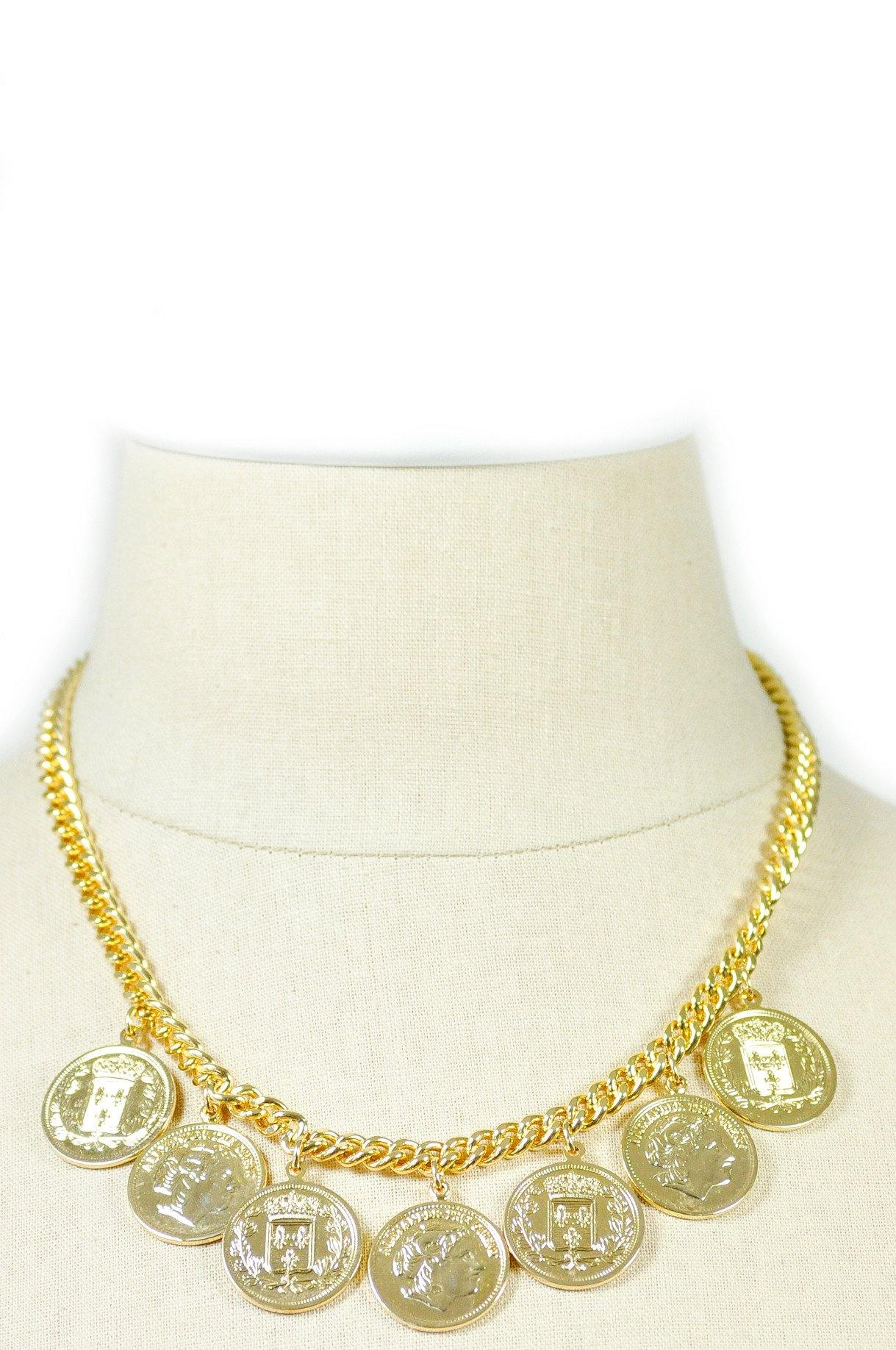 80's__Vintage__Coin Charm Necklace