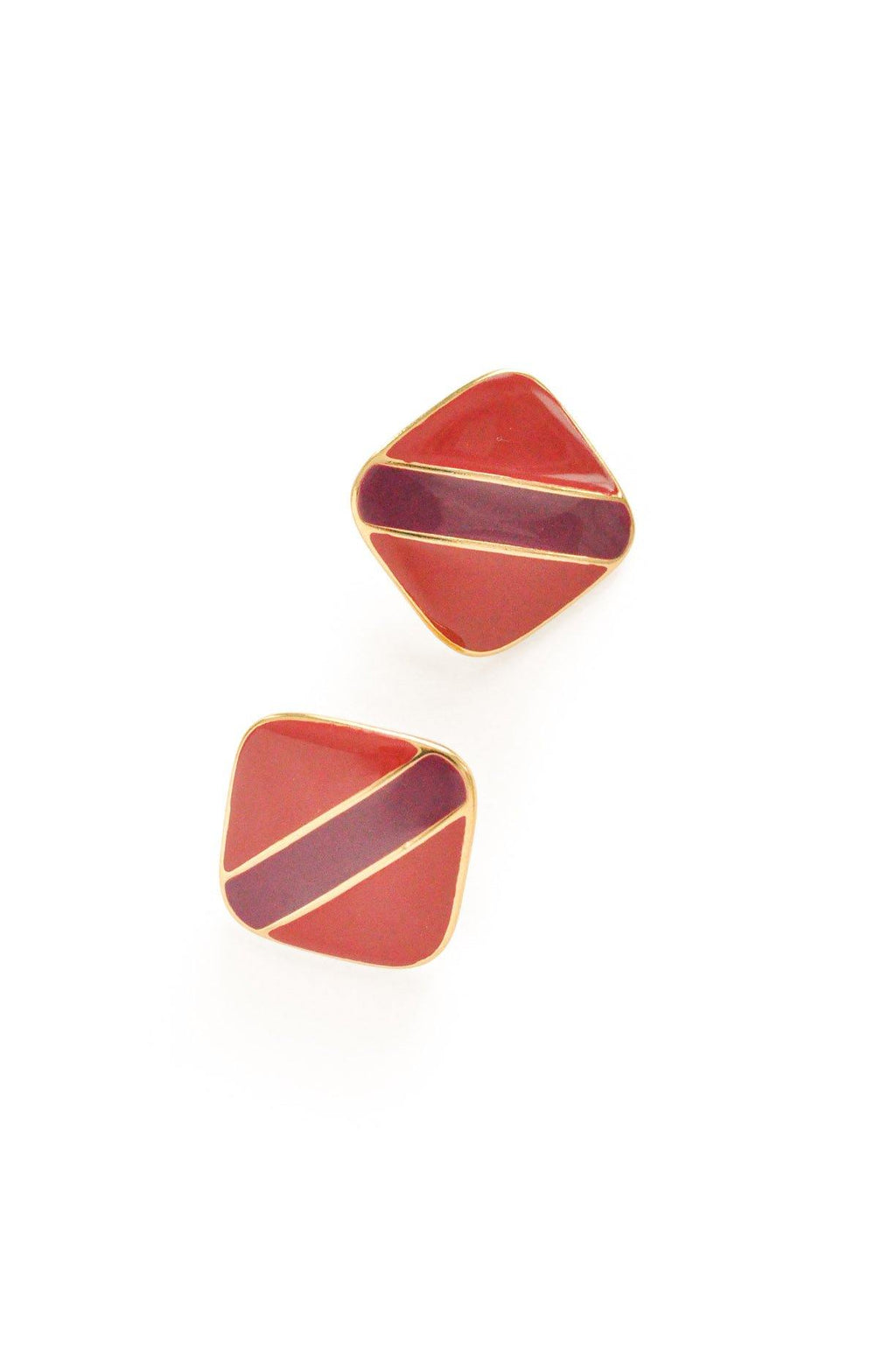 Square Enamel Pierced Earrings