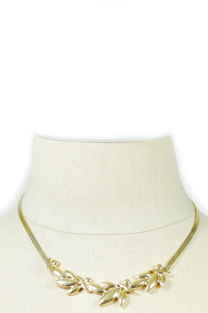 70's__Trifari__Leaf Bar Necklace