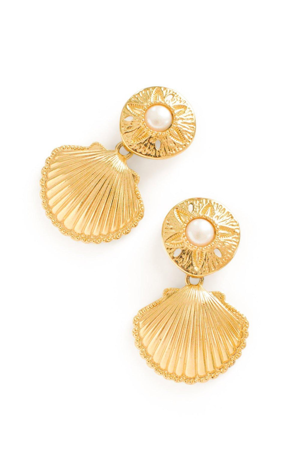 Pearl Shell Statement Clip-on Earrings
