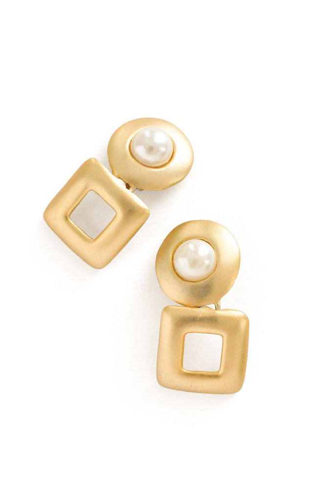 Pearl Geo Clip-on Earrings