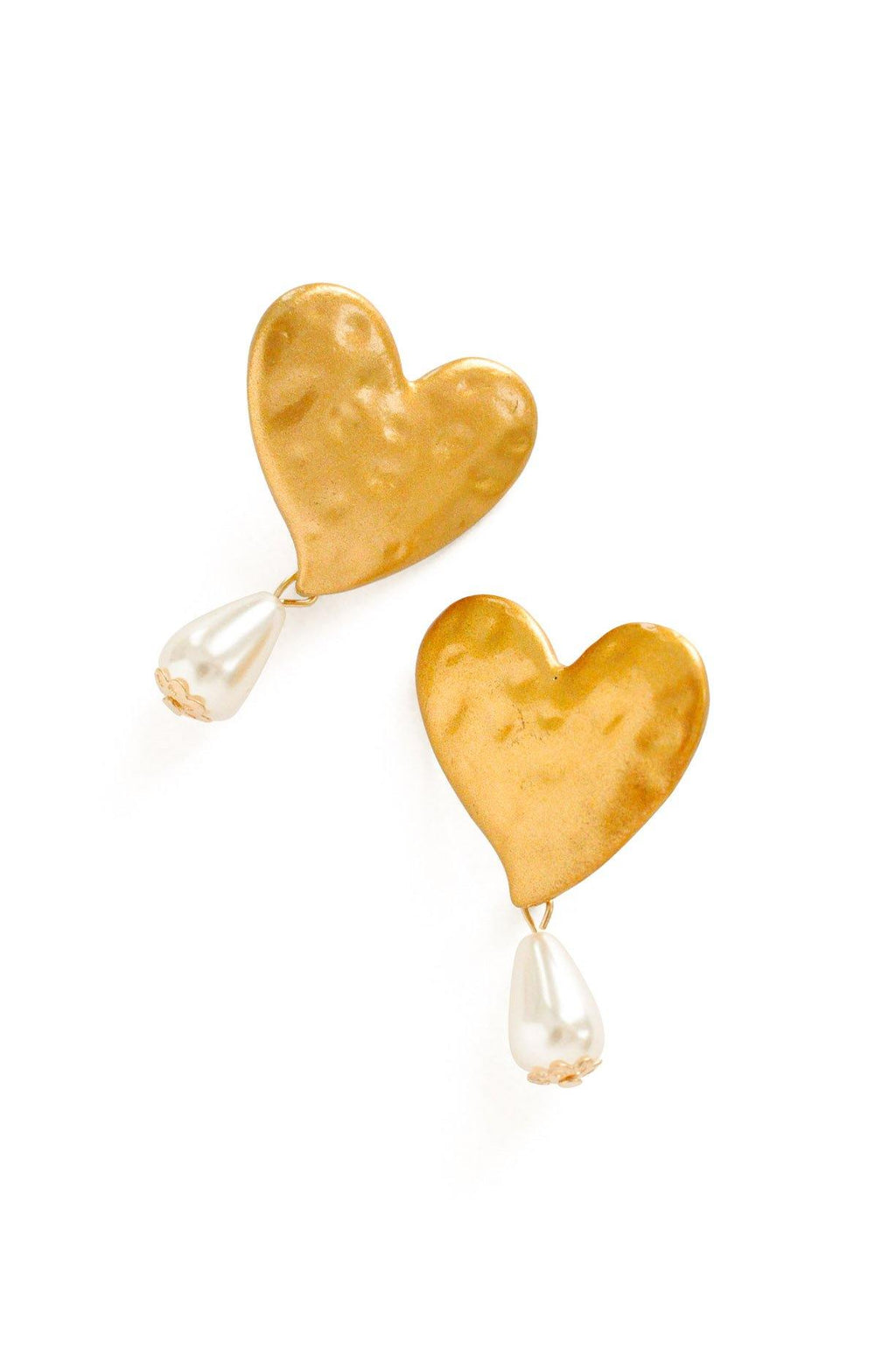 Heart Pearl Drop Pierced Earrings