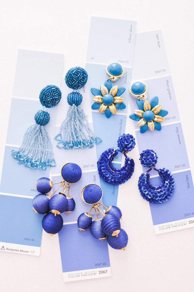 Blue Tassel Pierced Earrings