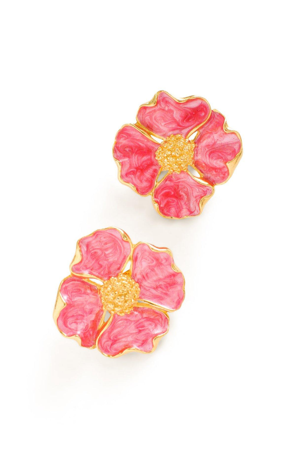 Pink Hibiscus Clip-on Earrings