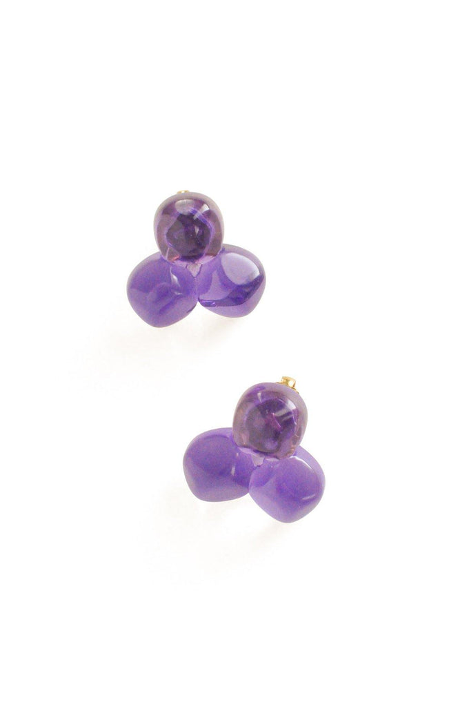 Purple Lucite Cluster Clip-On Earrings