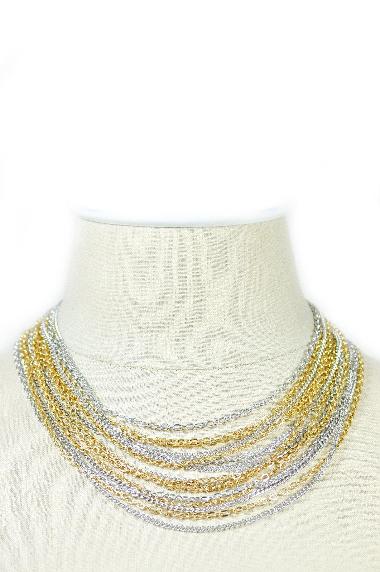 1950's Trifari Mixed Metals Multi Chain Necklace