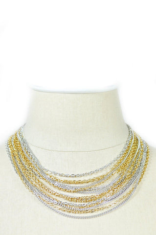50's__Trifari__Mixed Metals Multi Chain Necklace