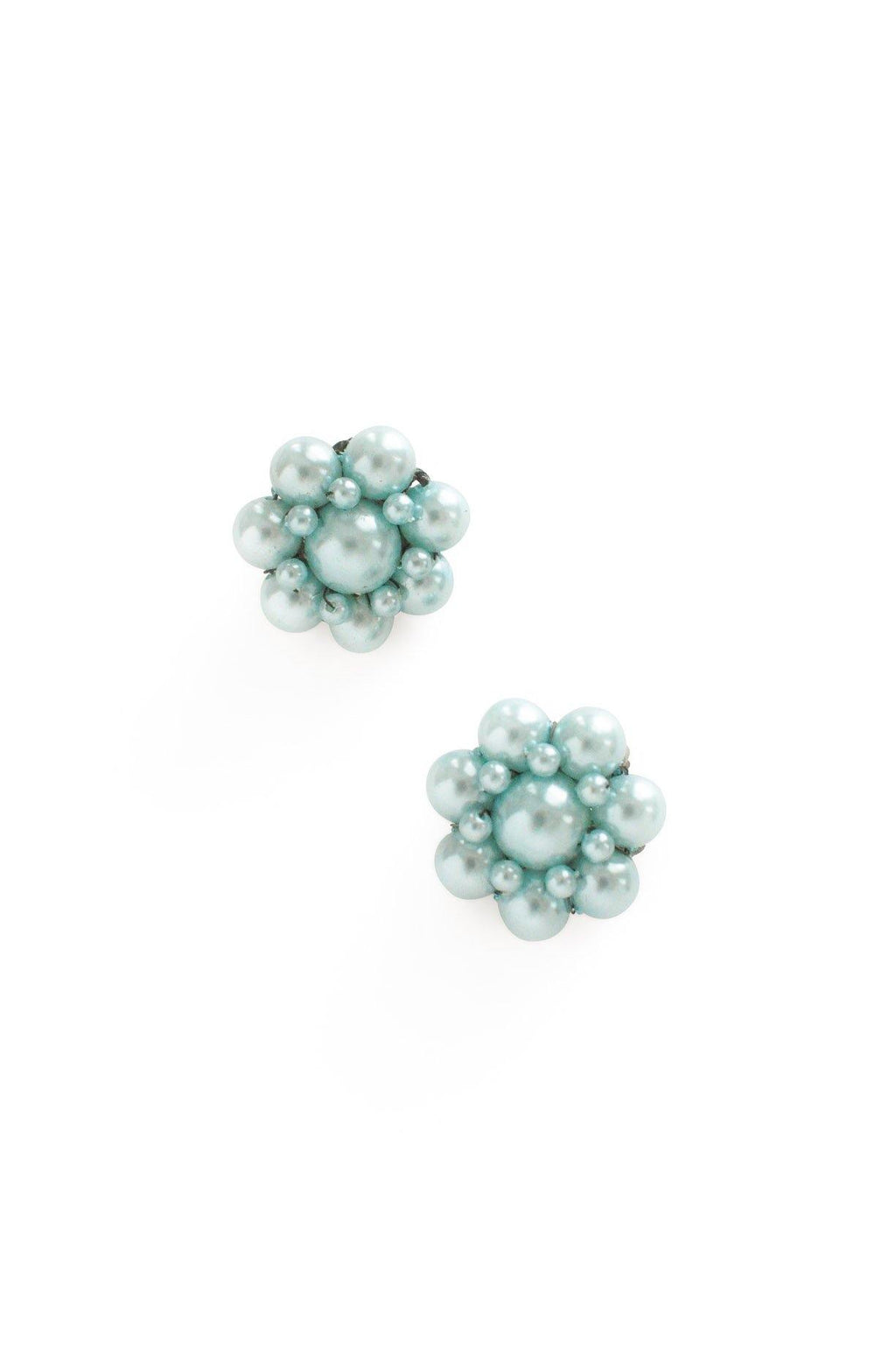 Blue Pearl Floral Clip-On Earrings