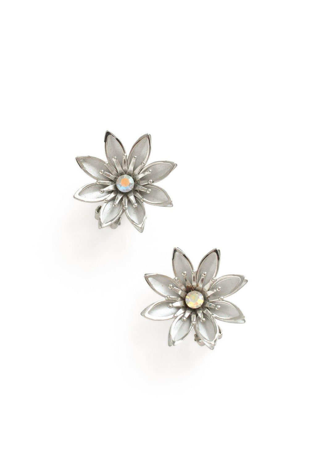 Grey Floral Clip-on Earrings