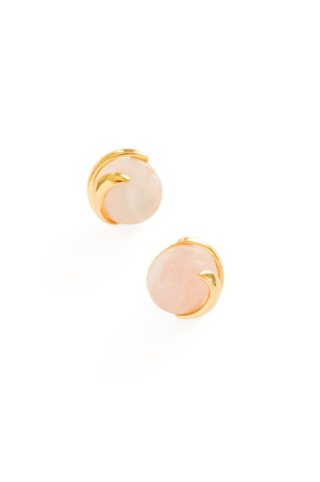 Round Pink Agate Pierced Earrings