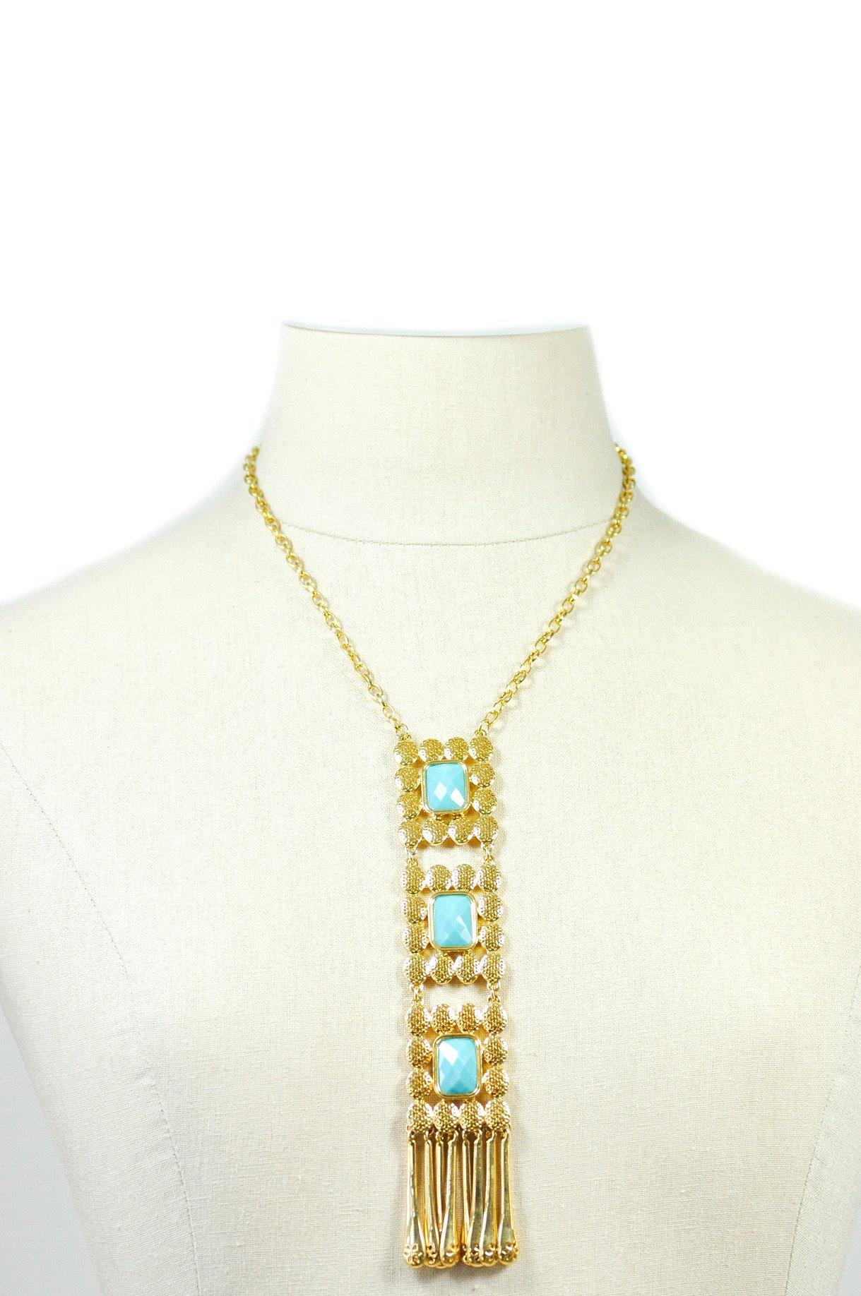80's Joan Rivers Statement Fringed Pendant Necklace