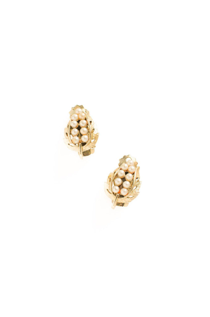 Pearl Leaf Clip-on Earrings