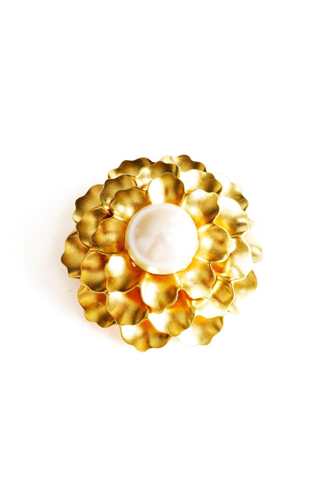 Monet Gold Floral Brooch
