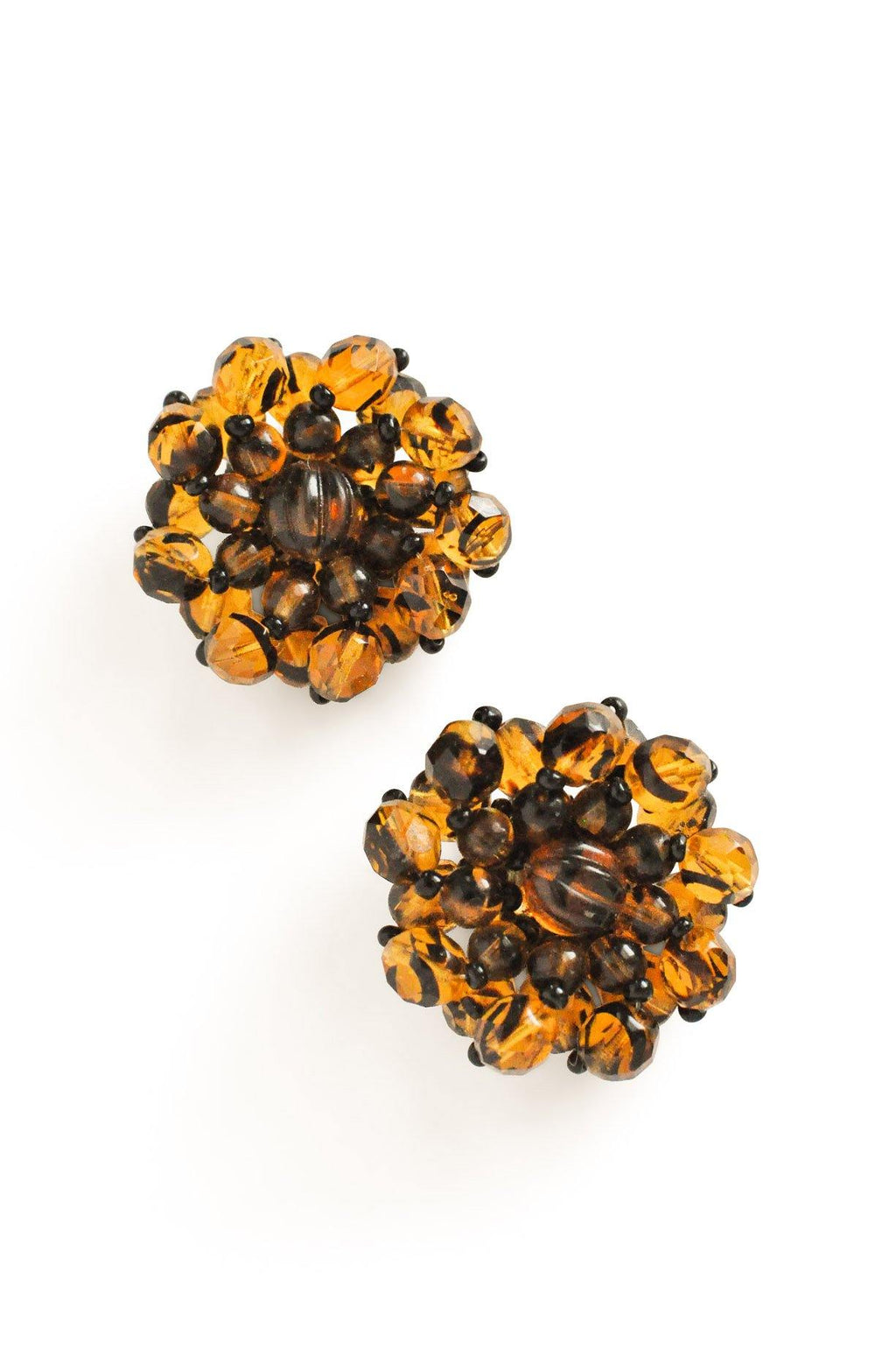 Tiger Beaded Clip-on Earrings