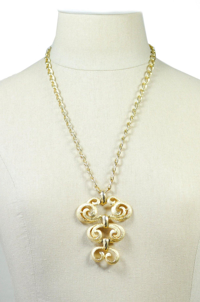 70's__Monet__Statement Swirl Pendant Necklace