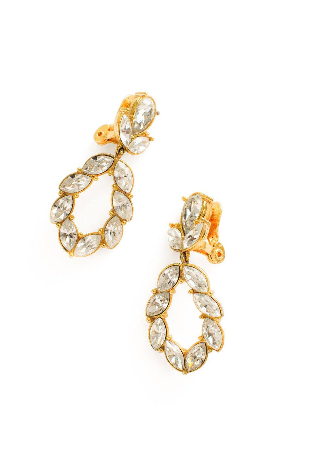 Rhinestone Teardrop Clip-on Earrings