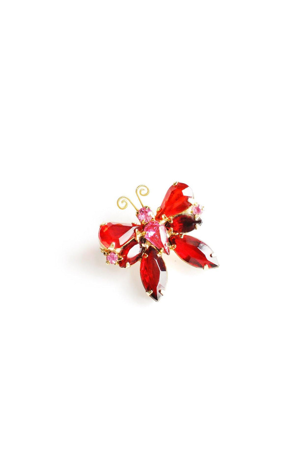 Red Rhinestone Butterfly Brooch