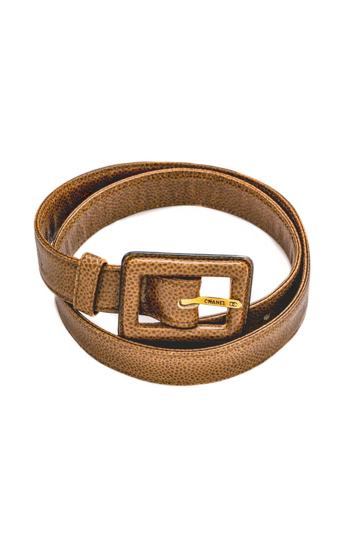 Vintage Chanel Brown Caviar Leather Belt from Sweet and Spark