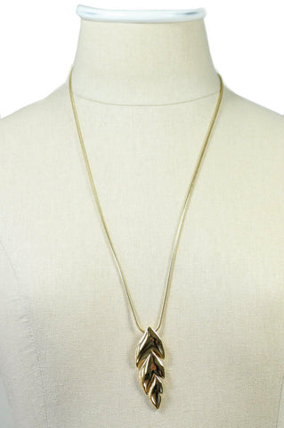 80's__Trifari__Feather Pendant Necklace