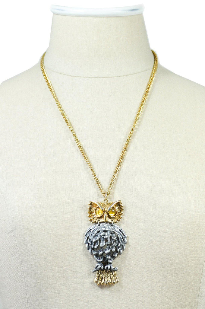 70's__Vintage__Statement Owl Pendant Necklace