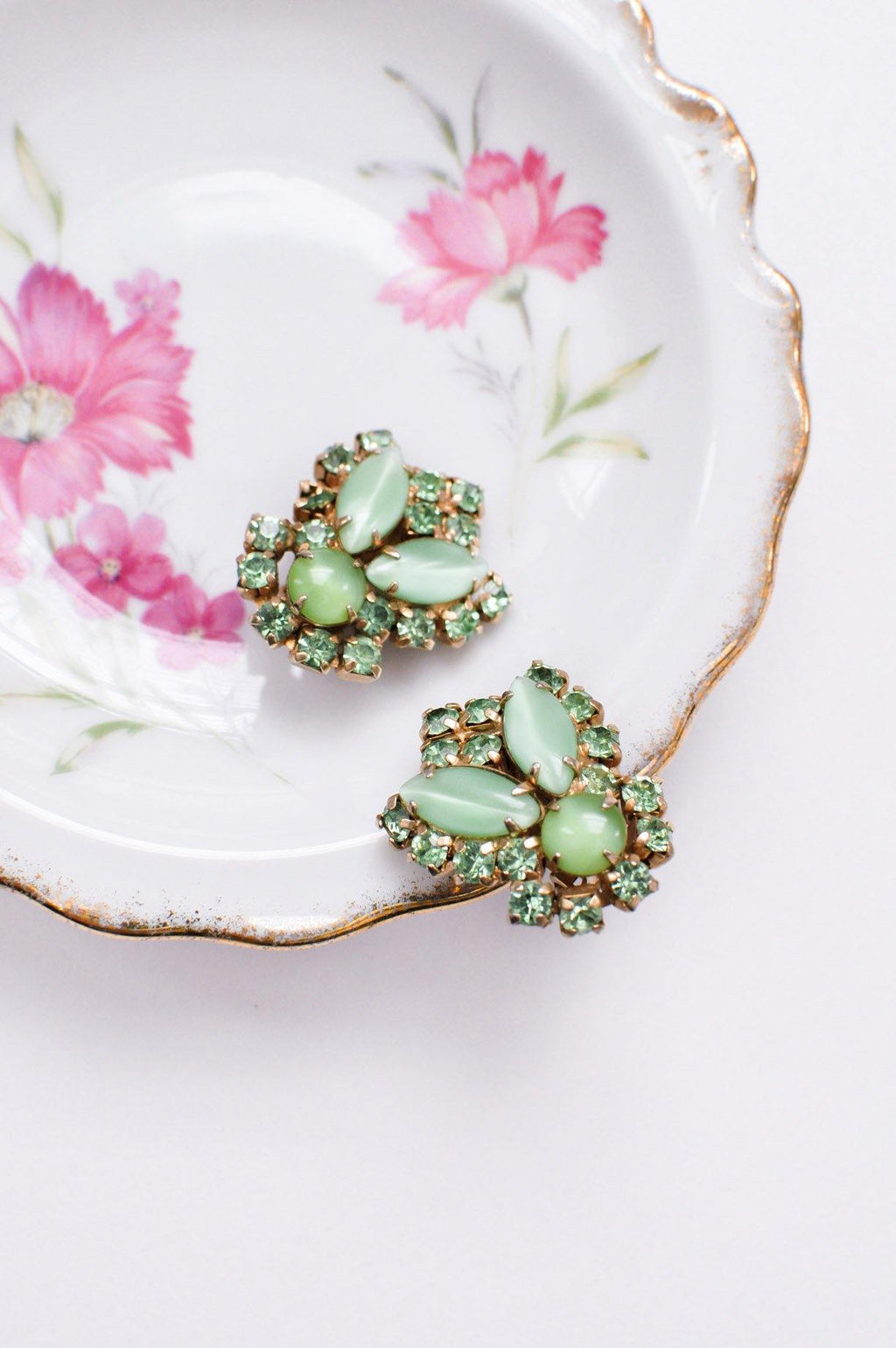 Green Glass Rhinestone Clip-on Earrings