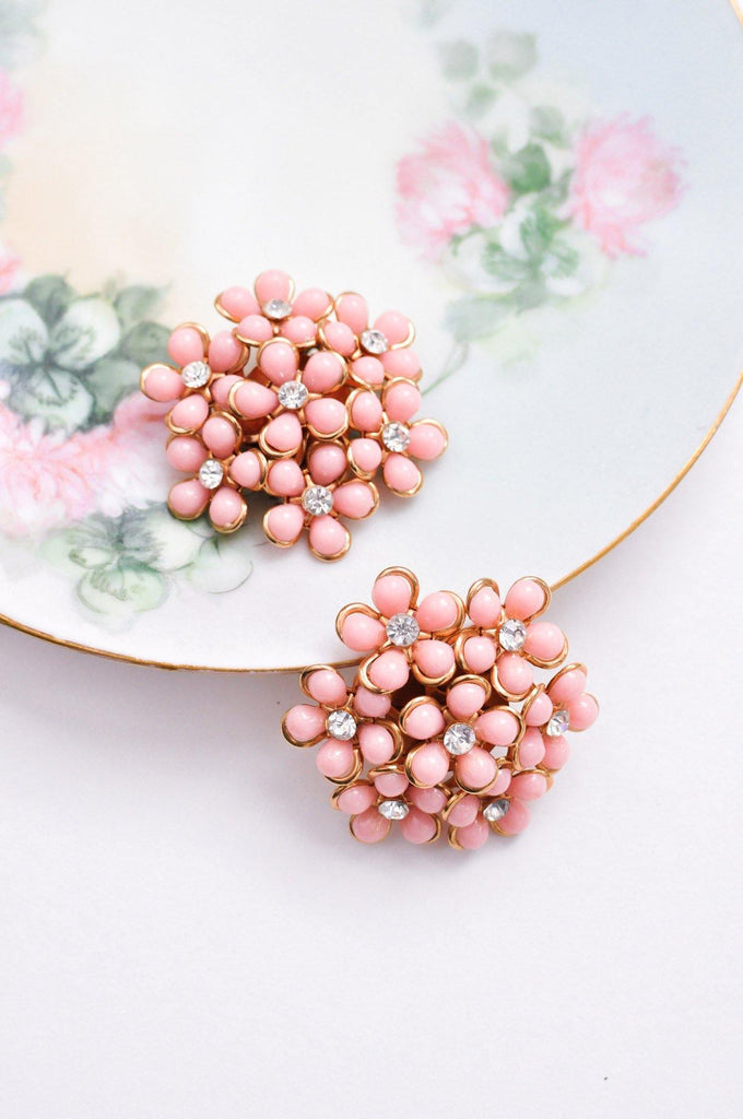 Pink Floral Cluster Clip-on Earrings