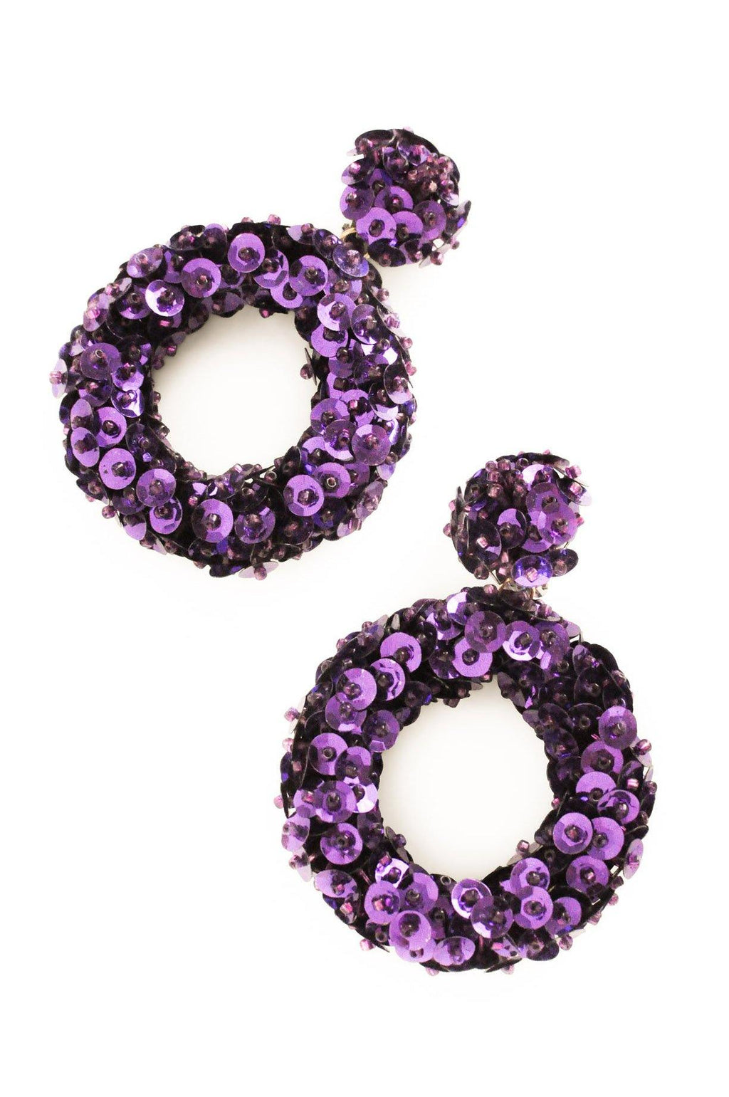 Purple Sequin Hoop Clip-on Earrings