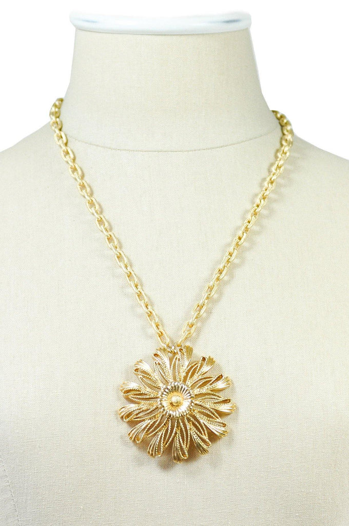 60's__Monet__Statement Floral Pendant Necklace