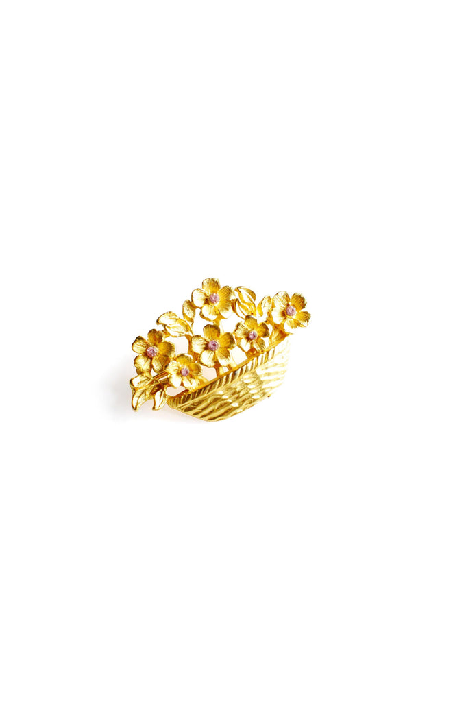 Gold Flowers Brooch